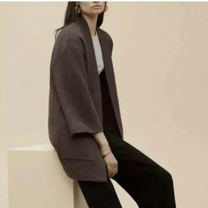 Aritzia Wilfred Brullon Sweater Coat Heather Brown